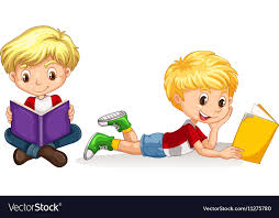 two boys reading book vector image
