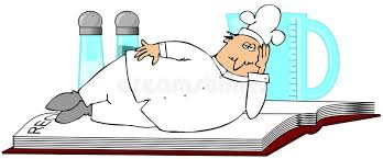 chef laying on a recipe book stock ilration ilration of cartoon pepper