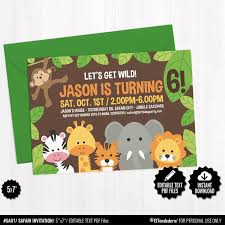 Jungle Theme Birthday Invitations Editable Safari Birthday Invitation Template Printable Jungle Theme Invite Neutral Kids Birthday Party First Birthday Instant Download