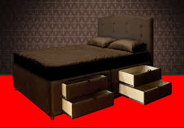 King Platform Bed Frame with Storage Drawers Upholstered Bed and
