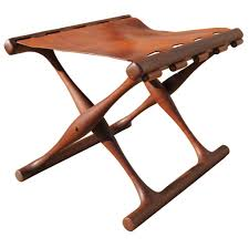 folding teak and leather stool by poul hundevad at stdibs