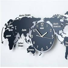 modern simple geometric wall clock world map creative decoration living room background in clocks from home for