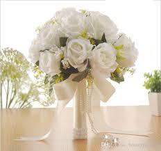 Elegant Rose Artificial Bridal Flowers Bride Bouquet Wedding Bouquet Crystals New Buque De Noiva