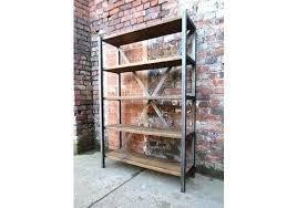 metal and wood shelving unit industrial chic reclaimed custom steel bookcase sh uk metal and wood shelving unit