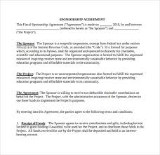 Sponsorship Agreement Template Template Examples