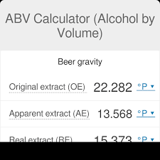 Specific Gravity Of Wine Chart Abv Calculator Alcohol By Volume Omni