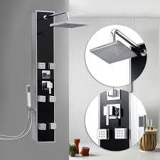 Duschpaneel Schwarz Duschsäule Wasserfall Duscharmatur