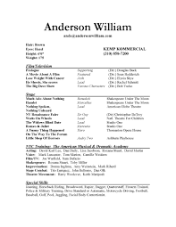 Qualifications Resume Technical Theatre Resume Templates Acting