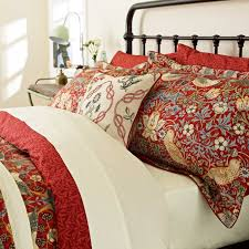 william morris strawberry thief super king duvet cover crimson red