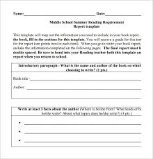 Book Report Templates Middle School 6 Middle School Book Report Templates Samples Doc Pdf Free