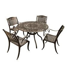 rose ornate 5 piece bronze aluminum round outdoor dining set with 4 chairs
