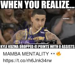 Find and save kyle kuzma memes | from instagram, facebook, tumblr, twitter & more. When You Realize F Kyle Pts Fg 3 Pt Fgmin Kyle Kuzma Dropped 41 Points With O Assists Mamba Mentality Httpstcorh6jnk34rw Meme On Me Me