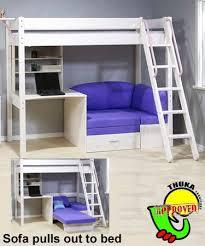 Thuka Maxi Maxi White 7 Loft Bed with Sofa Bed and Desk Sofa Bed .