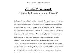 discuss the dramatic irony of act scene of othello gcse document image preview