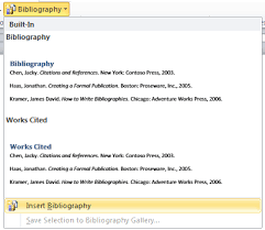 mla  apa  chicago — microsoft word formats bibliographies for you    image of insert bibliography button