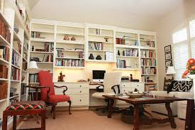 open space home office. Elegant Home Office Decoration Ideas With Large Open Plan Book Shelves And Brown Varnished Wooden Coffee Table Plus Red White Armchairs Also Cone Space
