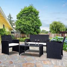 wicker patio furniture sets. Costway 4 Pc Rattan Patio Furniture Set Garden Lawn Sofa Wicker Cushioned  Seat Black Wicker Patio Furniture Sets I