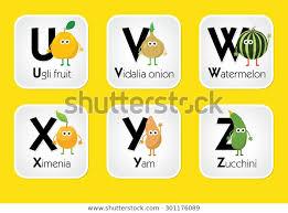 Fruit Vegetable Alphabet Chart Kids Eating Stock Vector
