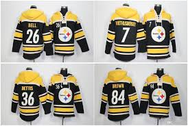 steeler football hoos 7 ben roethlisberger 36 jerome bettis leveon bell antonio brown stitched sweatshirts winter jacket from qqq8 35 78 dhgate com