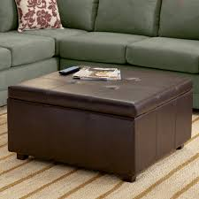 big square brown leather storage ottoman coffee table plus grey velvet sectional sofa fl cushion placed beige striped carpet furniture multi function