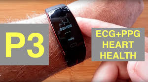 P3 ECG+PPG Blood Pressure tracking Sports Smart Wristband ...