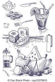 vintage kitchen utensils illustration. Exellent Illustration Vintage Set Of Food And Kitchen Ute  Csp15379915 For Kitchen Utensils Illustration E