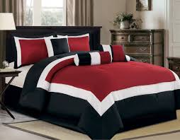 red and white bedding.  Red Amazoncom 7 Piece Oversize Burgundy  Black White Color Block  Inside Red And Bedding D