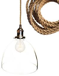 rustic ship rope 8 clear hand blown glass pendant light beach style pendant lighting by hammers heels