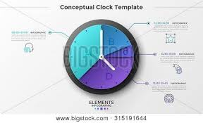 Clock Chart Template Round Pie Chart Clock Vector Photo Free Trial Bigstock