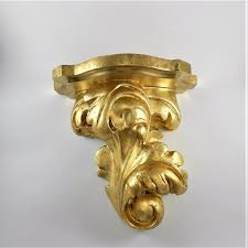 acanthus corbel shelf gold wall sconce