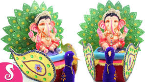 make peacock shape ganesha makhar singhasan from cardboard