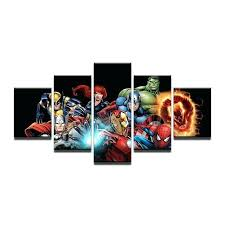 marvel wall art 5 pieces canvas prints marvel avengers hulk spider man painting wall art home marvel wall art