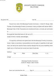 Free Mississippi Equipment Bill Of Sale Form Pdf 97kb