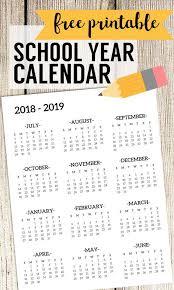 Free Printable School Calendar 2018 2019 School Calendar Printable Free Template Calendar Print
