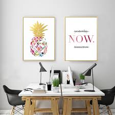 Modern Yellow <b>Gold Pineapple</b> Today Quotes Canvas Paintings ...