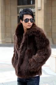 2018 new mens business winter faux fur jacket mens fur coat outwear trench parka