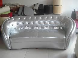 silver pu leather oval sofa nd2020