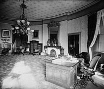 Jfk oval office Jfk Jr The Yellow Oval Room As President Grover Clevelands Library And Study 1886 Note His Use Of The Resolute Desk Wikipedia Oval Office Wikipedia