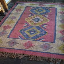 rose blue green kilim wool jute rug 6621
