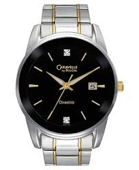caravelle watch repair caravelle watch repair black dial gold tone stick indices three hands date window and diamond accent markers and six and twelve o clock