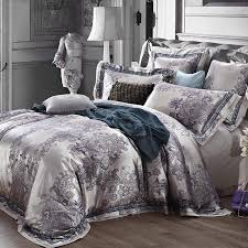 luxury jacquard satin silver grey wedding bedding comforter set king queen size duvet cover bedspread bed in a bag sheet quilt linen brand double bedding