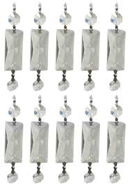 10 pack chandelier crystal prisms clear rectangle diamond chrome