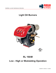 Riello Light Oil Burners Light Oil Burners Rl 190 M Low High Or Modulating