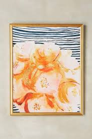 >flowers striped gold wall art