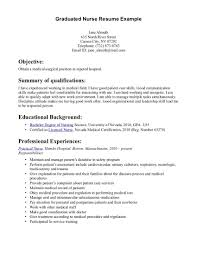 Nurse Resume Examples Cv Format For Graduates Medical Scientists