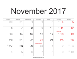 november 2017 calendar with holidays 2018 calendar printable