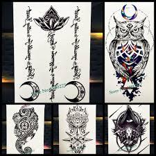 черный лотоса луна ислам временные татуировки наклейки мусульманская