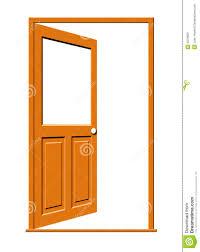 open front door. Open Wood Door With Blank Window Stock Illustration - . Front
