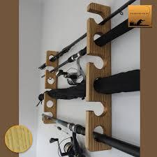 wooden fishing rod holder rack light