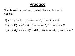 practice graph each equation label the center and radius